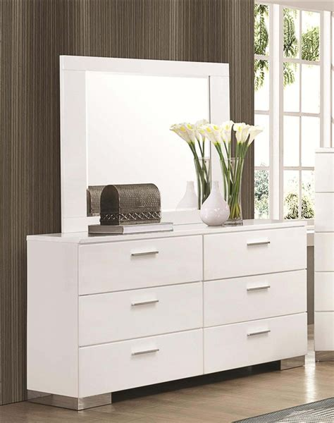 coaster felicity platform bedroom set white 300345 bed felicity 6 piece bedroom set in glossy white finish by