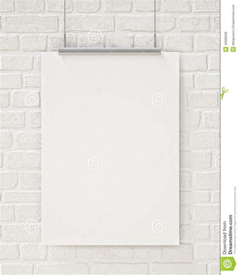 poster mock up on the brick wall stock vector image mock up blank poster hanging on the white brick wall