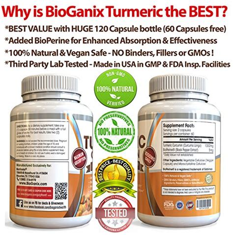 Ultimate Detox Diet 120 Capsules by Best Turmeric Curcumin Extract Supplement With Bioperine