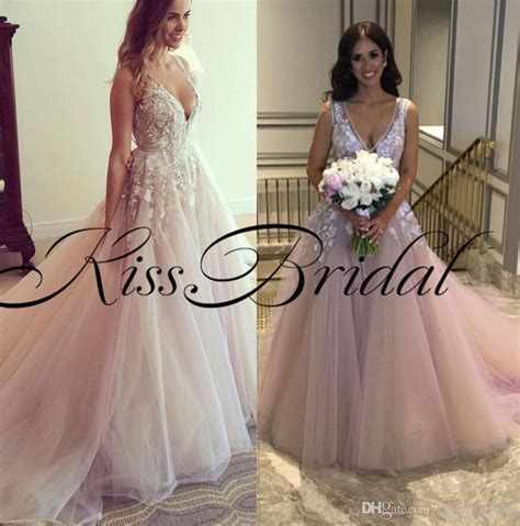 Blush Pink 3d Lace Floral Prom Dresses 2018 V Neck Formal Evening Gowns Floor Length Tulle Girls