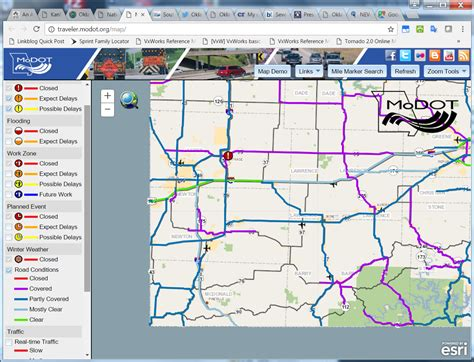 modot road closure map road conditions maps and bad batesline
