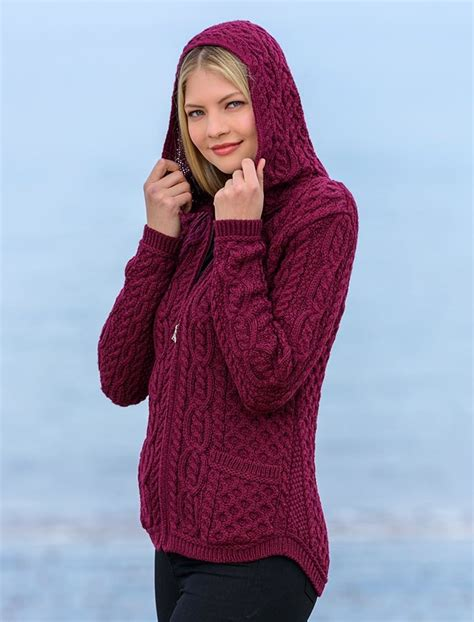 Hoodie Sweater Zipper The cable knit hoodie with celtic knot zipper pull