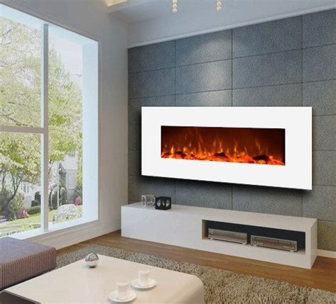 large electric wall mount fireplace modern realistic