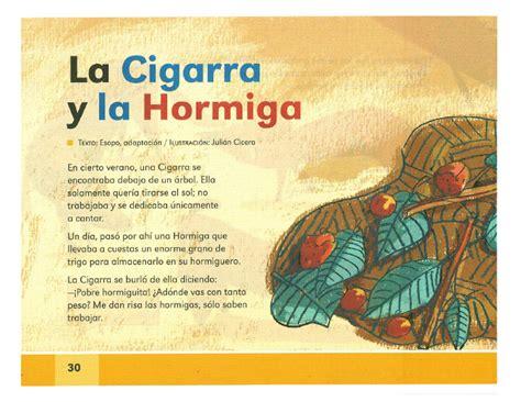 la cigarra y la hormiga espa 241 ol lecturas 2do grado