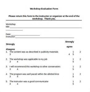 workshop feedback form template workshop evaluation form 7 sles exles format