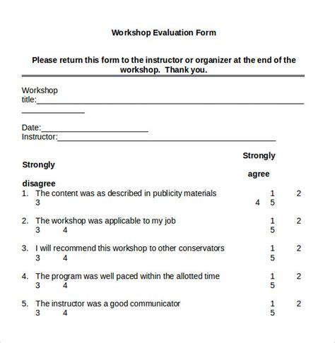 8 Workshop Evaluation Forms Sles Exles Format Sle Templates Workshop Template Doc