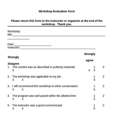 evaluation form template for a workshop workshop evaluation form 7 sles exles format