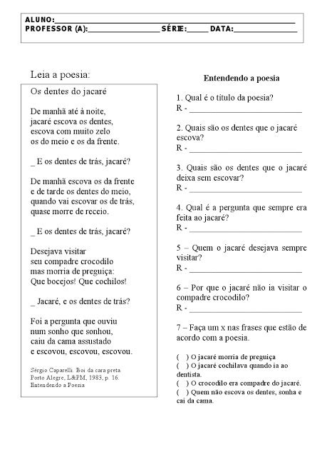 Escola Frei Henrique Bröker : Escuta e oralização de poesias