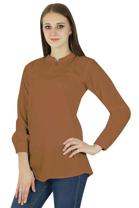 Blouse Ratu Tunic Tunik t shirts tops phagun casual tunic sleeves top cotton summer blouse brown