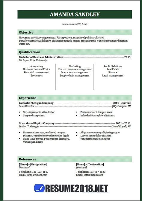 Resume Format 2018 20 Free To Download Word Templates Ats Resume Template 2018