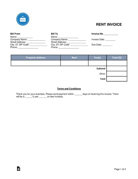 Free Rental Monthly Rent Invoice Template Word Pdf Eforms Free Fillable Forms Rental Invoice Template