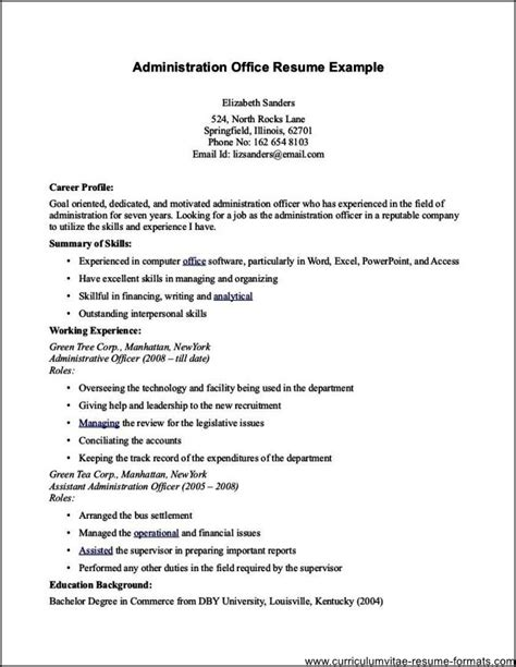 office administrator resume free sles exles format resume curruculum vitae free