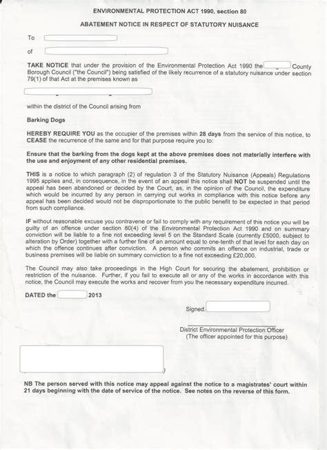 Rent Abatement Letter Uk Abatement Notice Of Statatory Nuisance Dogs Barking Page 2