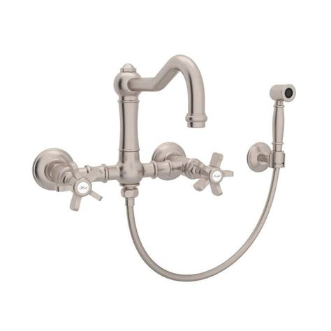 rohl country kitchen bridge faucet shop rohl country kitchen satin nickel 2 handle wall mount