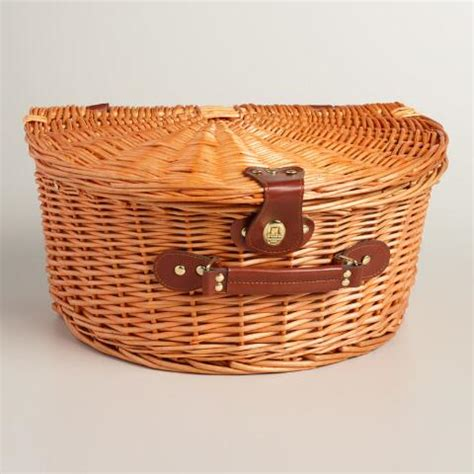 To Market Picnic Basket by Plaid Willow Picnic Basket With Wine And Cheese Service