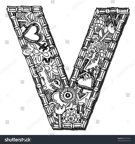 doodle vs doodle 3 childlike doodle abc letter v stock illustration