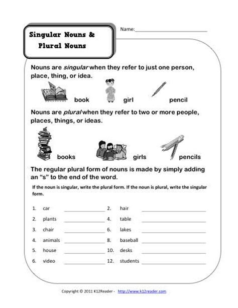 Singular And Plural Nouns Worksheets by Singular And Plural Nouns Kindergarten Noun Worksheet