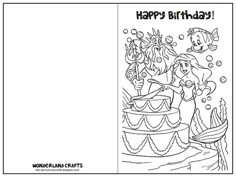 card mermaid coloring templates wonderlan crafts printable birthday cards for