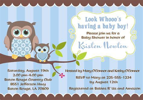 Baby Shower Owl Theme Boy by Owl Baby Shower Invitations Boy Baby Shower