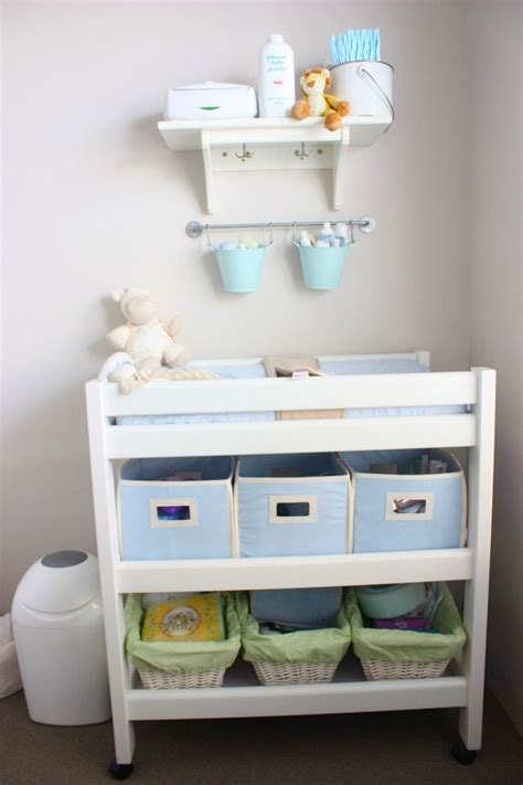 Changing Table Hanging Organizer The Idea Of Hanging Pales Above Changing Table To Organize Nursery Ideas