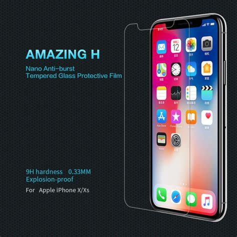 nillkin amazing h tempered glass screen protector for apple iphone xs iphone x