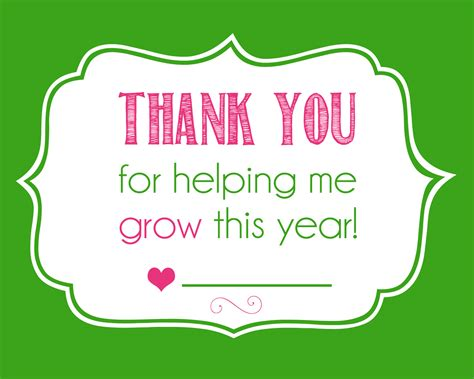 Thank You For Helping Me Grow Free Printable