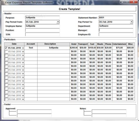 excel expense report template software screenshot 1 from