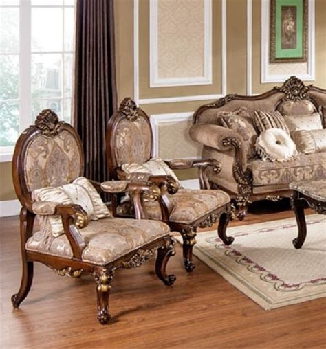 Accent Chair Set Of 2 Best Furniture Mc1428 Gold Wood Trim Hazelnut Fabric Accent Chair Set Of 2