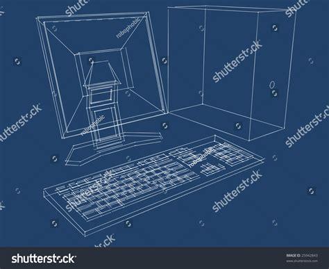 computer desk blueprint blueprint computer lcd monitor keyboard three stock