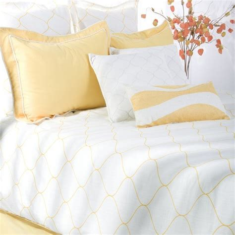 sutton bedding set in yellow white modern bedding