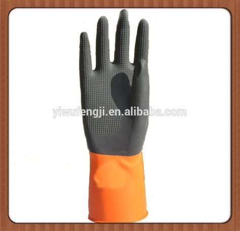 Qq Rubber Q010 Black Yellow bi color industrial gloves safety glove