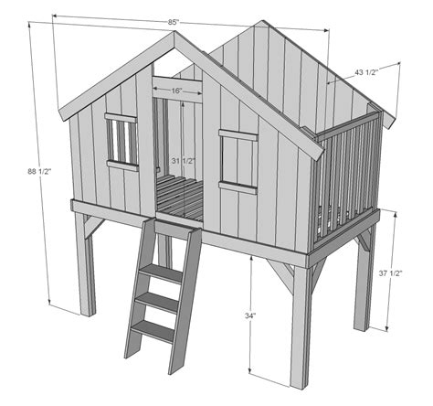 Tree House Bunk Bed Plans Ana White Clubhouse Bed Diy Projects