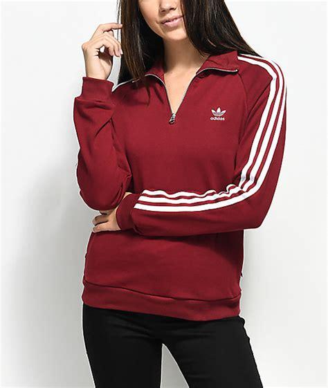Sweater Adidas 3 Colors adidas 3 stripe burgundy partial zip sweatshirt zumiez