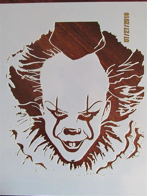 pennywise evil clown stenciltemplate reusable  mil