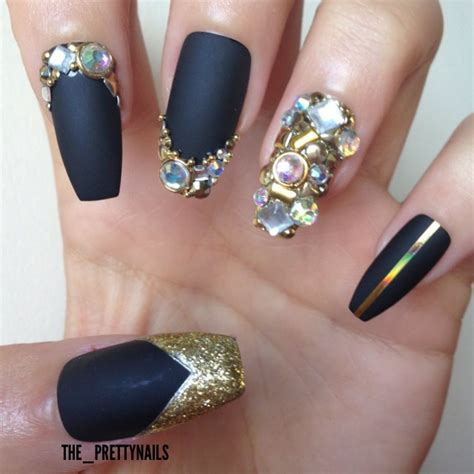 beautiful black matte nails with diamond design picsmine