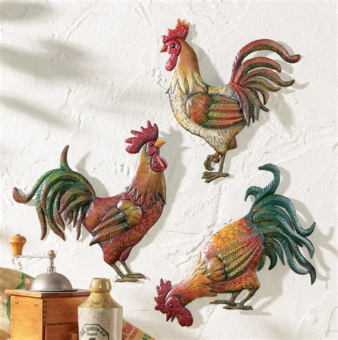 country kitchen rooster theme decor set of 3 metal rooster