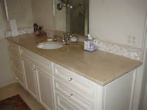 Tile Backsplash For Kitchens With Granite Countertops Vanity Crema Marfil Traditional Bathroom New