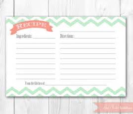 items similar to recipe card printable coral and mint