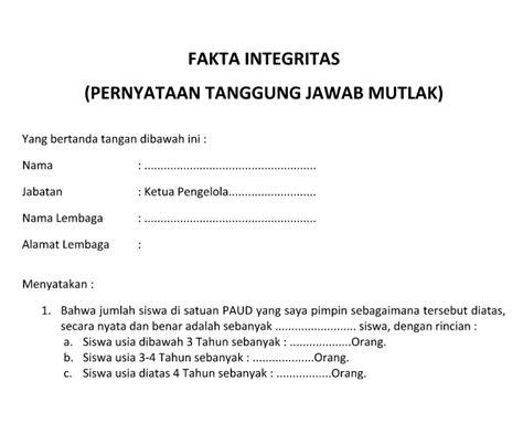 format surat pernyataan tanggung jawab fakta intergritas pernyataan tanggung jawab mutlak bop