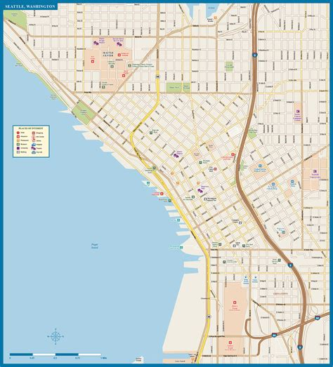 seattle map downtown seattle downtown map digital vector creative