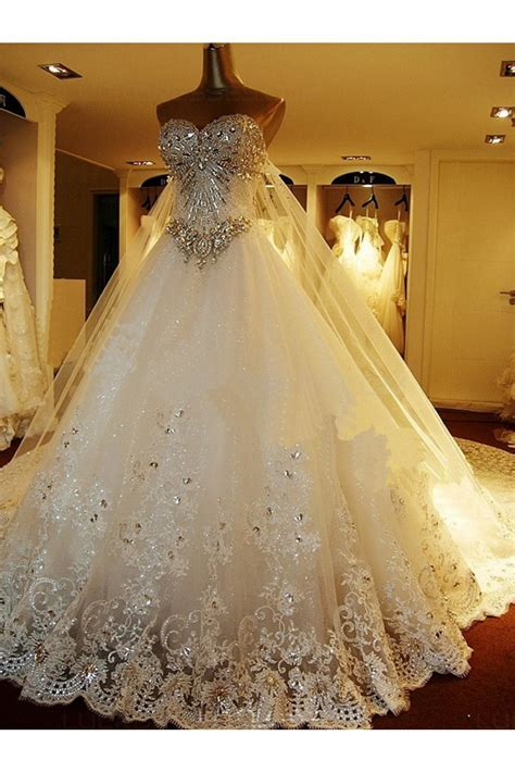 Sparkly Lace Ball Gown Crystal Wedding Dresses Bridal