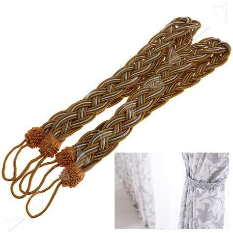 curtain rope holdbacks pair of braided tiebacks tie back rope curtains holdbacks