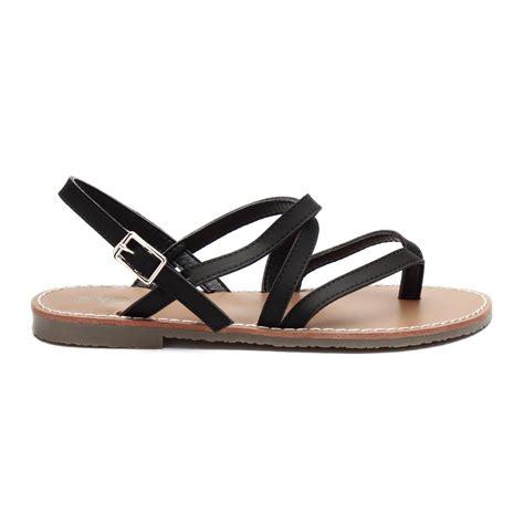 crossing sandals black leather look crossing toe post flat
