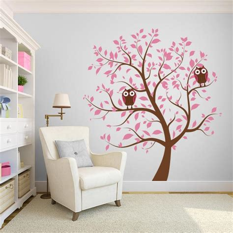 Pink Wall Decals For Nursery Blue Nursery Tree With Owls Wall Decal Wall Decal World