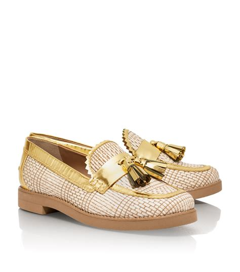 burch gold loafers lyst burch metallic careen loafer in
