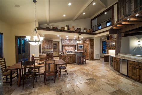 Rustic Living Room Kitchen Combo Water Tower Inspired Home Kitchen View From Living Room