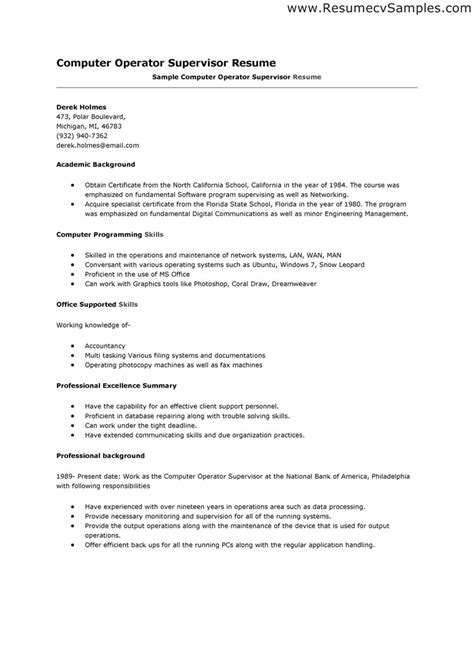 Resume Format For by Computer Operator Resume Format It Resume Cover Letter Sle