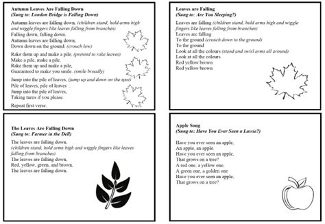 song cards 20 seasonal finger plays songs and autumn