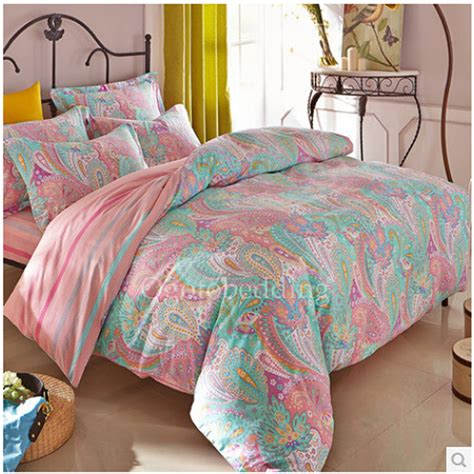 Pretty Bed Sets Light Teal Pretty Patterned Quality Bedding Sets On Sale Obqsn072403 78 99