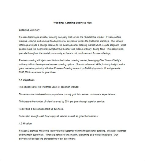 Sle Letter For Catering Business 13 Catering Business Plan Templates Free Sle Exle Format Free Premium